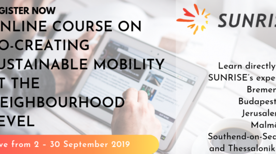 Free e-course on co-creation of sustainable mobility at the neighbourhood level by CIVITAS SUNRISE